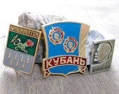 20% OFF use coupon code SAVE20 Sale 3 Vintage badges, ex ussr, mixed media, assemblage, jewelry, supplies,steampunk,collectibles