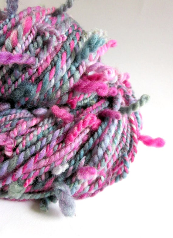 Handspun merino yarn - hand dyed pinks and greeny greys- 'SIDEWINDER'
