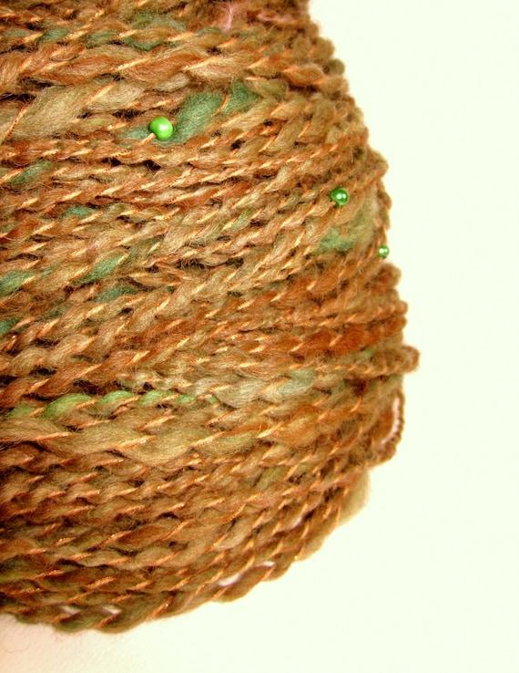 Handspun bulky alpaca and merino knitting yarn with beads 'BROWN OWL'