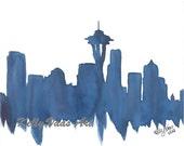 "Blue Seattle Skyline, 8.5x11"" Print"