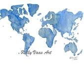 "Blue Green World Map, 11x14"" Print"