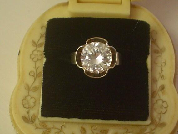 SALE Swedish Modernist ALTON crystal sterling Ring