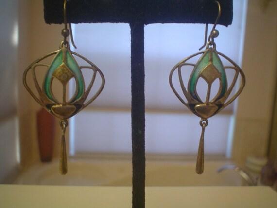 RESERVED Pat Cheney Arts Crafts Silver Enamel Earrings