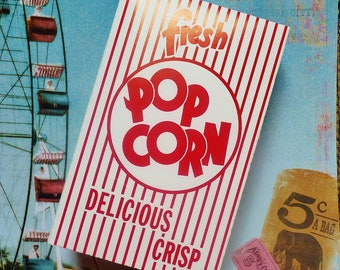 POPCORN Box 50 Retro Vintage Movie Popcorn Box, Party, Concessions, Food, Carnival, Picnic, Monkey, Slumber Party, Ball Games, Baseball