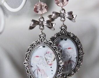 Altered art vintage Marie Antoinette earrings