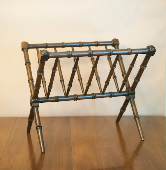 Vintage faux bamboo wood magazine rack Chinoiserie Hollywood Regency British Colonial