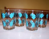 Reserved for Barry - Vintage set of 4 glasses - turquoise - teal - aqua - black - retro