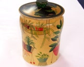 Vintage decorative tin - candy tin - made in England - yellow - floral