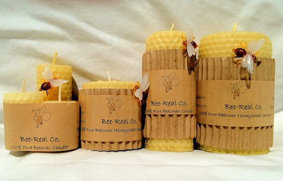 "100% Pure Beeswax Hand Rolled Honeycomb Candle 2"" x 2"""