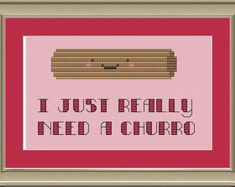I just really need a churro: cute cross-stitch pattern