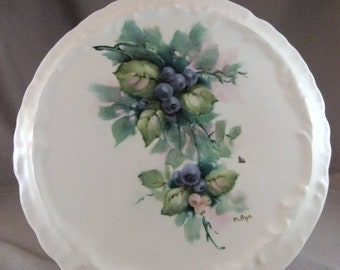 Hand Painted Blueberries on a Porcelain Trivet