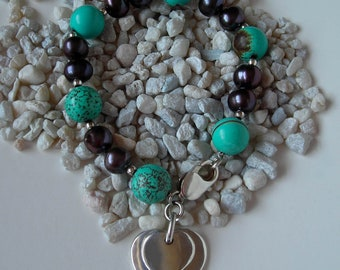 Black Pearl Bracelet - Silver and Turquoise Howlite Beads