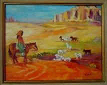 Vibrant Painting Southwest Peasant Girl Watching Sheep signed CAT