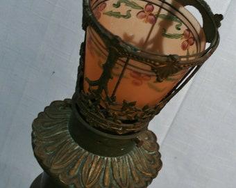 Antique Bronze Lamp Handpainted Glass Shade