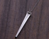 Silver Nail Spike necklace on sterling silver delicate extra long chain