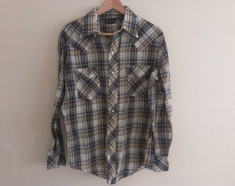 80s eighties large western shirt men has some spots in belly