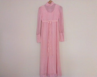 70s vintage pink dress small seventies