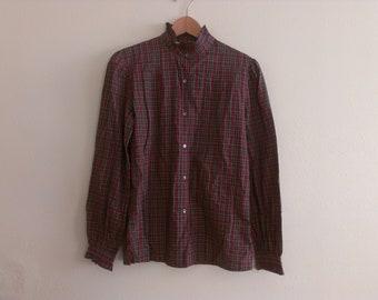 70s vintage women's large ruffly plaid blouse