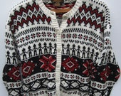 Eddie Bauer White Geometric Snowflake Soft Comfy Nordic Fair Isle Button Up Cardigan
