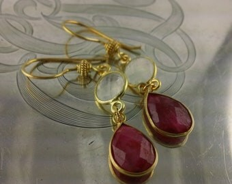 Faceted Raw Ruby and Moonstone Earrings