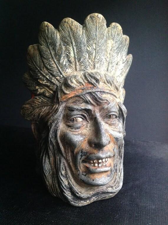 Vintage Cast Iron Indian Figurine - Pot or Jar
