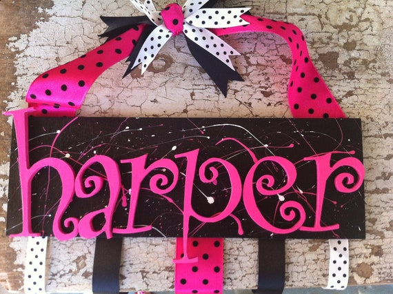 Personalized wood hair bow holder