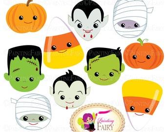 Halloween clipart Halloween Party Faces Digital images Dracula Vampire Pumpkin Candy Corn Frankenstein Frankie Mummy clip arts DIY pf00044-7