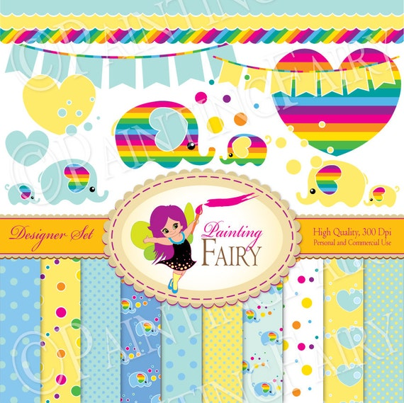 Cliparts Paper pack Digital Set Rainbow Bubble Bunting Border Elephant Mom & Baby clip art Papers Baby Zoo Personal Commercial use pf00033-2