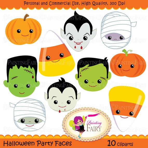 Halloween clipart Halloween Party Faces Digital images Dracula Vampire Pumpkin Candy Corn Frankenstein Frankie Mummy clip arts DIY pf00044-7
