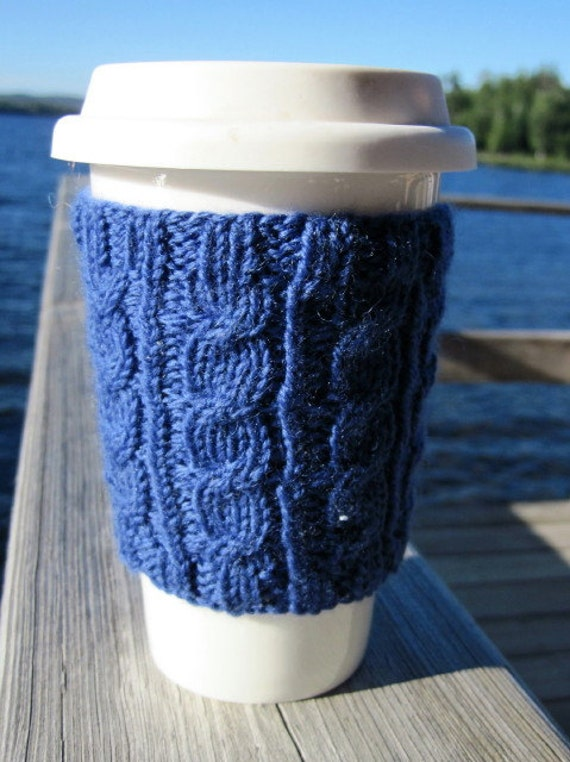 Reuseable, Handknit Cabled Coffee Cup Cozy