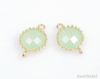 2pcs - Light Mint color and Gold Framed Glass Round Connector / light mint / mint / green / 16k gold plated / glass / 8 x 12mm / SLMG011-C