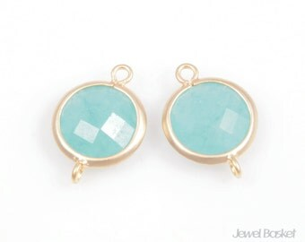 2pcs - Ice Mint Color and Matted Gold Framed Round Connector / mint / ice mint / 16k matte gold palting / gemstone / 11mm x 16mm /SMTMG002-C