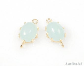 2pcs - Cloudy Mint and Gold Framed oval Connector (small verstion) / ice mint / mint / 16k gold plating / glass / 9 x 14mm / SCMG003-C2