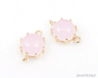 2pcs - Ice Pink Gold Color and Gold Framed Round Connector / ice pink / pink / 16k gold plating / glass / 9mm x 14mm / SPKG003-C3