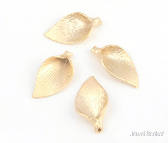 Stripes Patterned Calla Pendant (small version)-Brass / 10mm x 19mm / BMG006-P2 (2pcs)