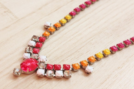 Tropical Fusion OOAK Neon Necklace - Tom Binns inspired neon jewelry - handpainted red, orange, fuchsia & yellow vintage rhinestone necklace