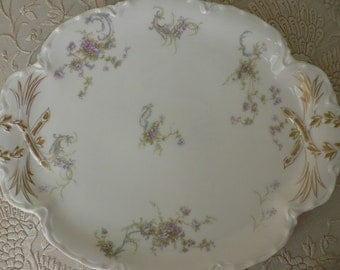 Limoges Haviland France Violet Floral Dresser Tray