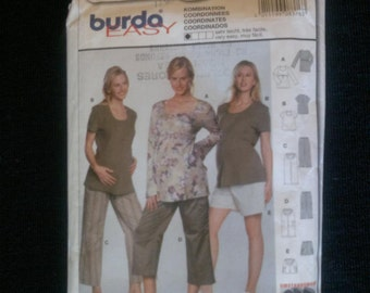 Sewing pattern Maternity Top Trousers and Shorts  Burda 8376
