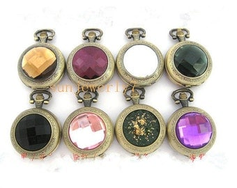 8pcs Mixed color  Crystal pocket watch charms pendant  PW001   35mmx35mm