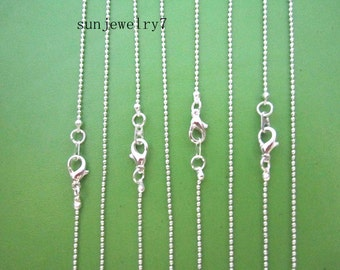 50pcs 20inch 1.2mm Silver Necklace  Ball Chain  Necklace Chain For Jewelry Making