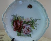 Featured Treasury List Item, Pretty Porcelain Plate, Roses and Lily of the Valley, Scalloped Pearlized Raised Edging, Chic.