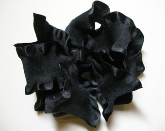 Solid Simply BLACK Double Ruffled Ribbon Boutique Hair Bow Toddler Girl Casual Pageant Wear Photo Prop School