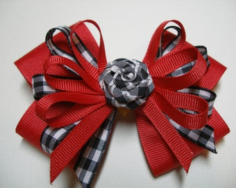 Classic Red Black Gingham Check Hair Bow Boutique Toddler Girl School Uniform Christmas Team Spirit Wear