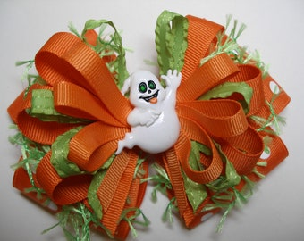 BOO to You Over the Top HALLOWEEN Orange Lime Green Ghost Hair Bow Big Boutique Toddler Girl Handmade