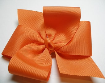 BIG Solid ORANGE Hair Bow Grosgrain Tropical Summer Fashion LARGE Girl Toddler