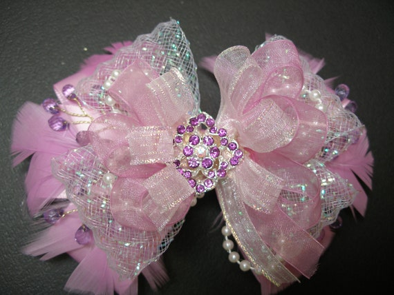 Over the TOP Satin Hair Bow Lilac  PINK OOAK Big Large Elegant Wedding Flower Girl Pageant Big Boutique Dressy Fancy Special Occassion
