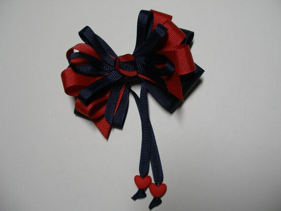 Navy Blue Hair Bow Red Sweetheart HEART LuV USA 4th of July School UNIFORM Boutique Streamers Tails Toddler Girl