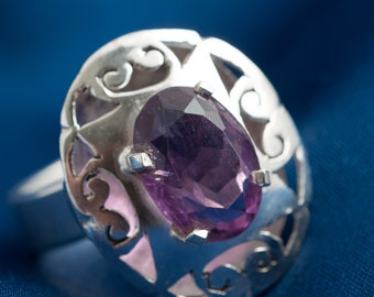 Amethyst and Sterling Silver Ring, size 7