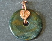 Moss Agate Pendant With Copper-Plated Brass Leaf Bail