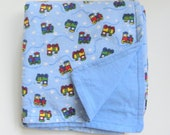 Train Baby Blanket, Flannel Receiving Blanket,Flannel Baby Blanket, Train Blanket, Reversible Boy Bedding 36 x 36
